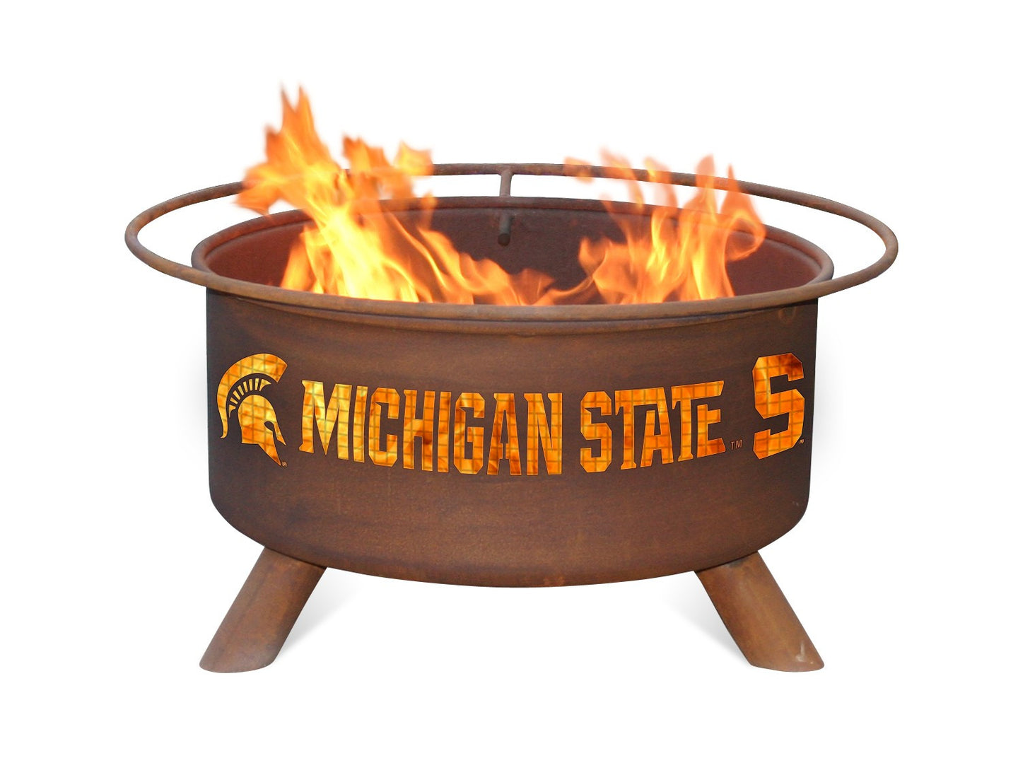 Collegiate Michigan State University Logo Wood / Charcoal Steel Fire Pit, Fireplace - Yardify.com