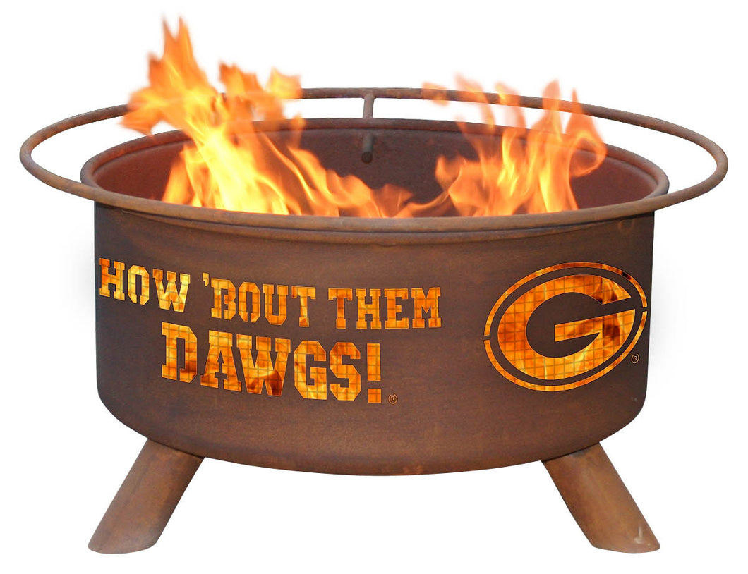 Collegiate University of Georgia Logo Wood and Charcoal Steel Fire Pit, Fireplace - Yardify.com