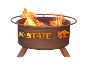 Collegiate Kansas State University Logo Wood / Charcoal Steel Fire Pit, Fireplace - Yardify.com