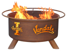Load image into Gallery viewer, Collegiate University of Idaho Vandals Logo Wood / Charcoal Steel Fire Pit, Fireplace - Yardify.com