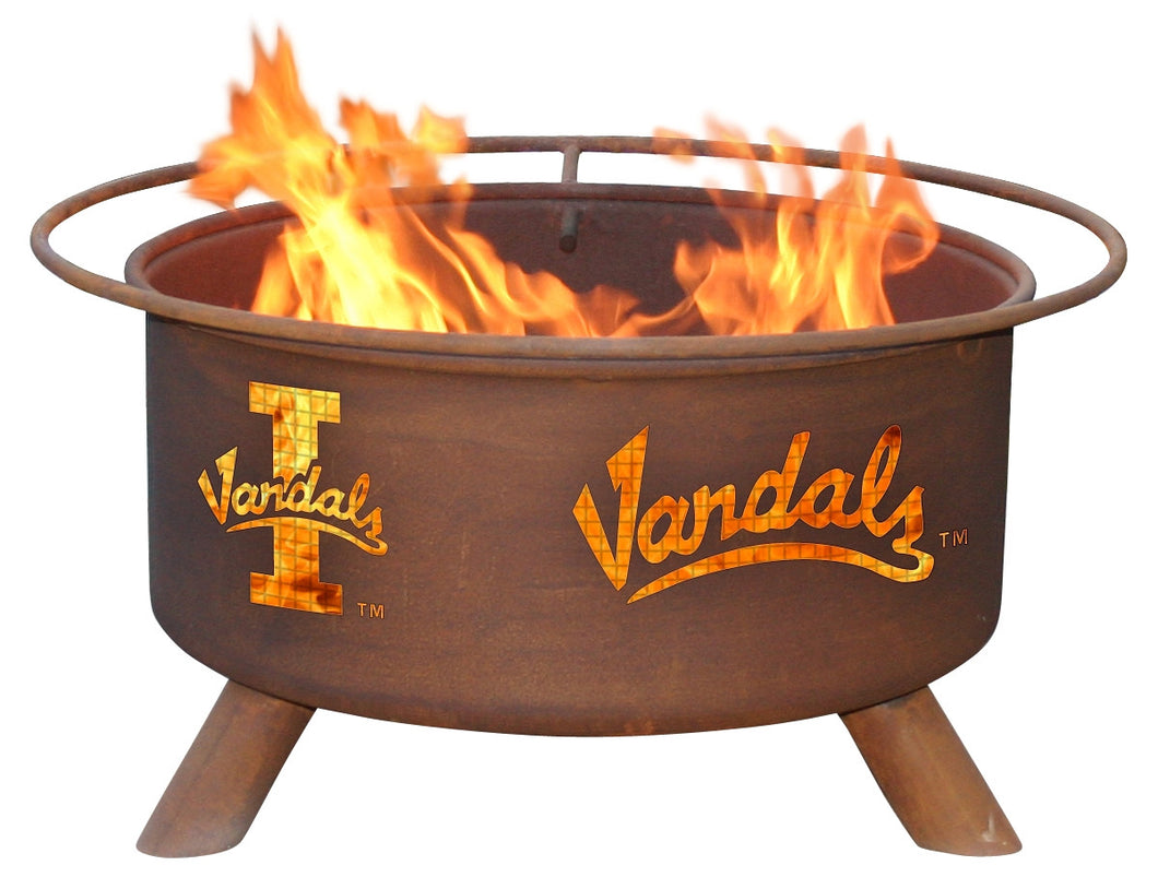 Collegiate University of Idaho Vandals Logo Wood / Charcoal Steel Fire Pit, Fireplace - Yardify.com
