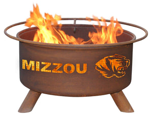 Collegiate University of Missouri Logo Wood / Charcoal Steel Fire Pit, Fireplace - Yardify.com