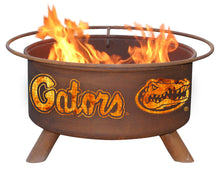 Load image into Gallery viewer, Collegiate University of Florida Logo Wood and Charcoal Steel Fire Pit, Fireplace - Yardify.com