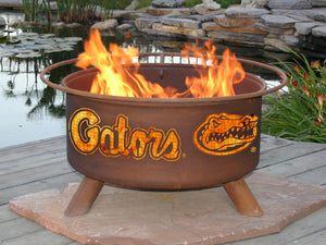 Collegiate University of Florida Logo Wood and Charcoal Steel Fire Pit, Fireplace - Yardify.com