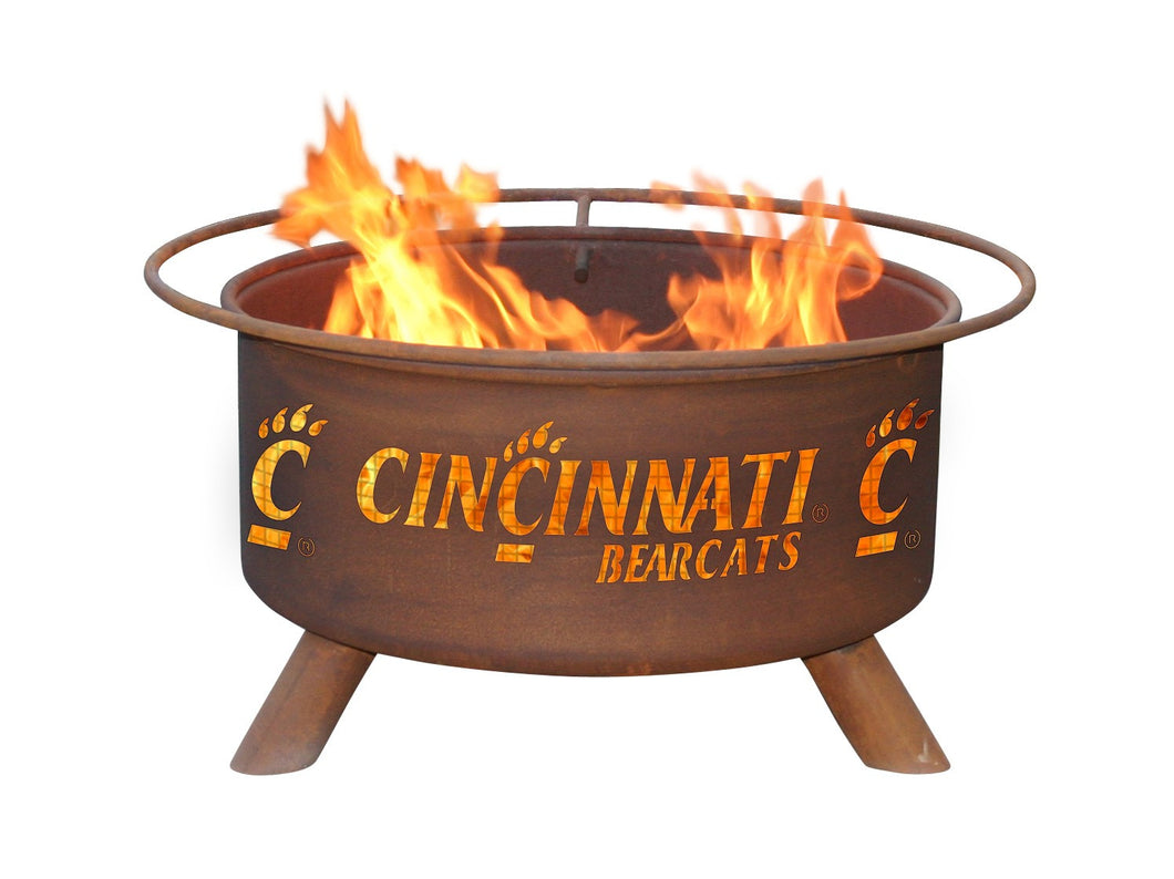 Collegiate University of Cincinnati Logo Wood and Charcoal Steel Fire Pit, Fireplace - Yardify.com