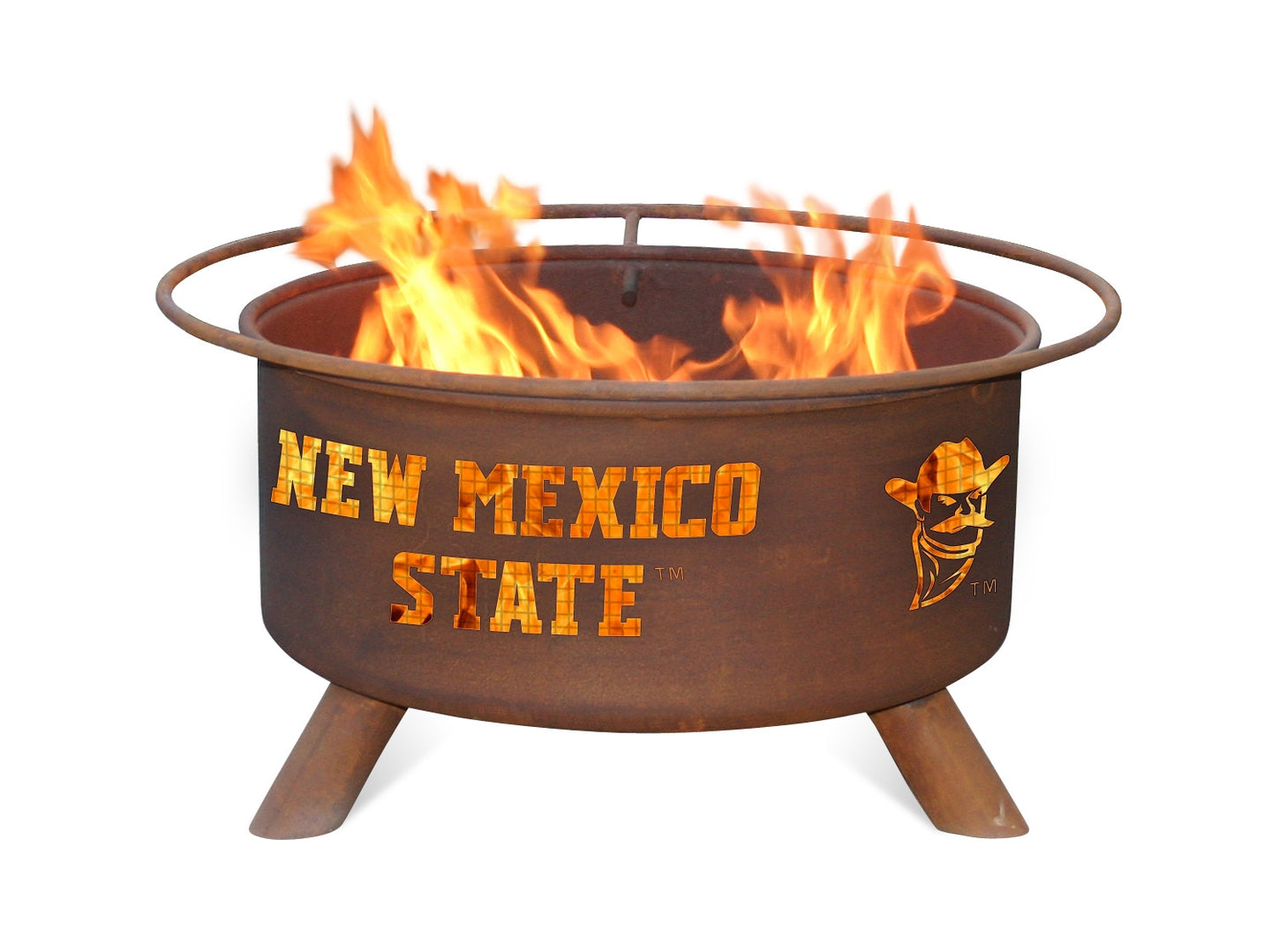 Collegiate NMSU Logo Wood / Charcoal Steel Fire Pit, Fireplace - Yardify.com