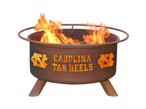 Collegiate University of North Carolina Logo Wood / Charcoal Steel Fire Pit, Fireplace - Yardify.com