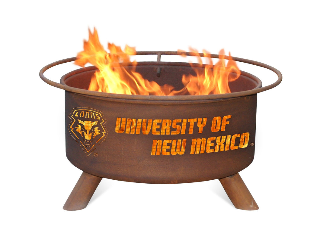 Collegiate University of New Mexico Logo Wood / Charcoal Steel Fire Pit, Fireplace - Yardify.com