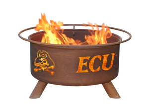 Collegiate East Carolina University Logo Wood and Charcoal Steel Fire Pit, Fireplace - Yardify.com