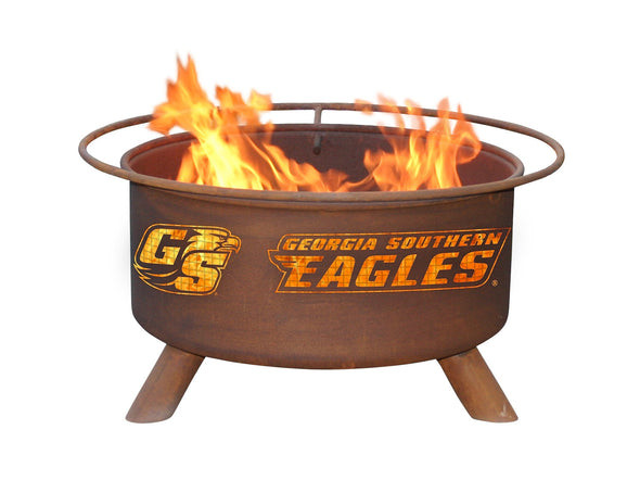 Collegiate Georgia Southern University Logo Wood and Charcoal Steel Fire Pit, Fireplace - Yardify.com