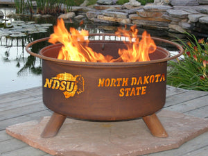 Collegiate North Dakota State University Logo Wood / Charcoal Steel Fire Pit, Fireplace - Yardify.com