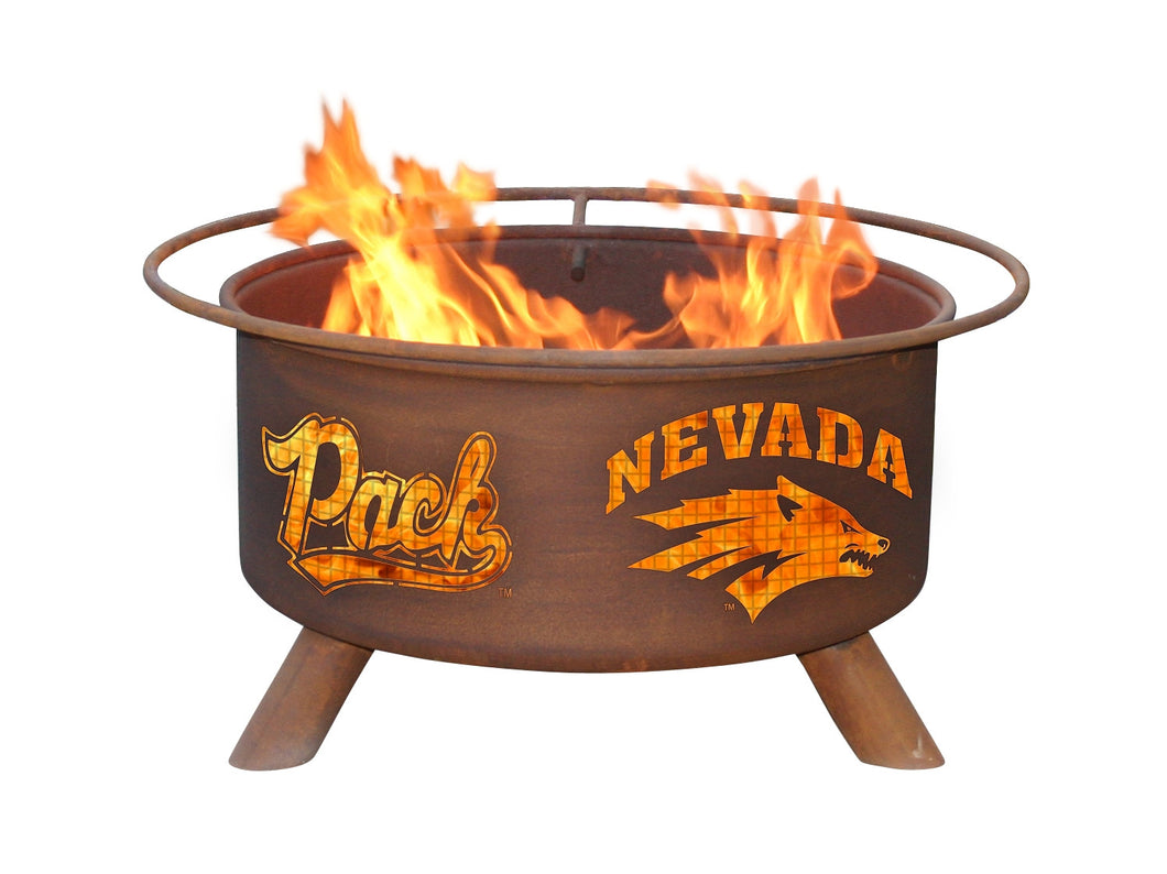 Collegiate University of Nevada Logo Wood / Charcoal Steel Fire Pit, Fireplace - Yardify.com