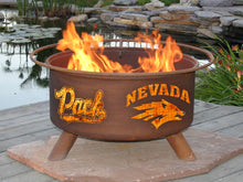 Load image into Gallery viewer, Collegiate University of Nevada Logo Wood / Charcoal Steel Fire Pit, Fireplace - Yardify.com