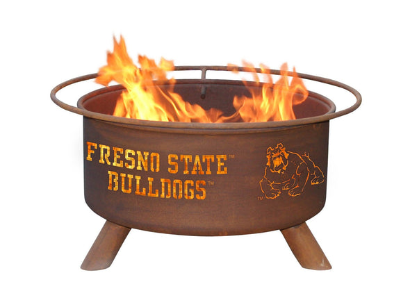 Collegiate Fresno State University Logo Wood and Charcoal Steel Fire Pit, Fireplace - Yardify.com