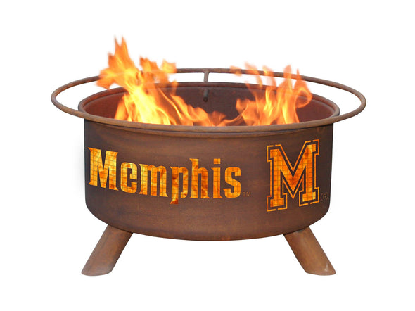Collegiate University of Memphis Logo Wood / Charcoal Steel Fire Pit, Fireplace - Yardify.com