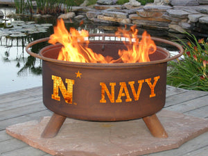 Collegiate United States Naval Academy Logo Fire Pit, Fireplace - Yardify.com