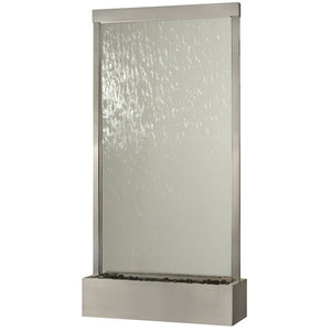 8 Feet Grande Stainless, Clear Glass Waterfall Fountain, Waterfall - Yardify.com
