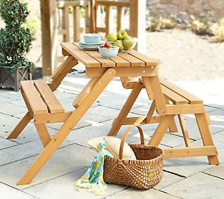 Wood Cunninghamia Cedar, Oil-Based Stain Convertible Folding Picnic Table Bench