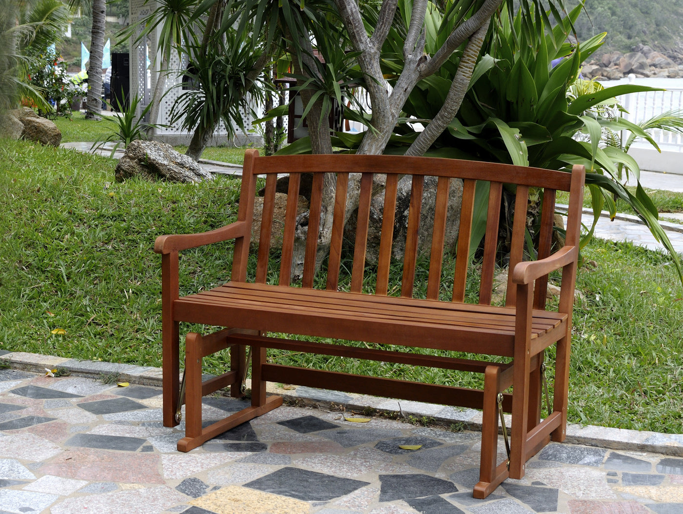 Prime Outdoor 2 Person Patio Furniture Acacia Hardwood Garden Glider Bench Gmtry Best Dining Table And Chair Ideas Images Gmtryco