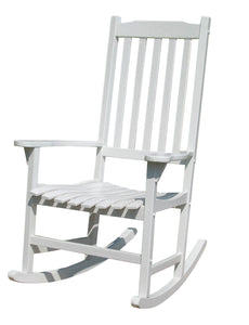 Traditional Classic White Acacia Wood Rocking Chair, Chair - Yardify.com