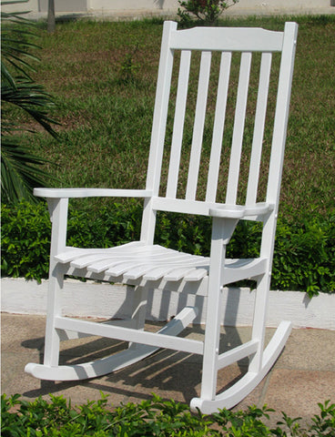 Traditional Classic White Acacia Wood Rocking Chair