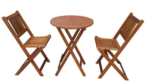 Garden Indoor / Outdoor Foldable Acacia Hardwood Bistro Table Set, Table - Yardify.com