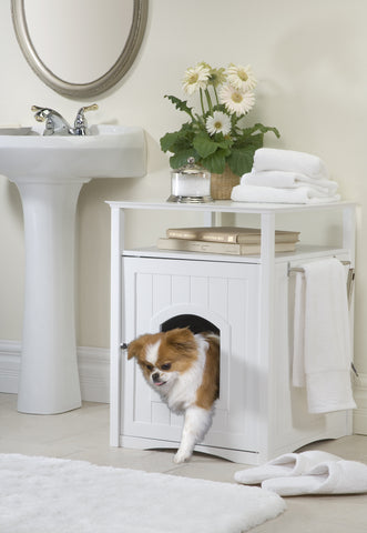 White Cat or Dog Washroom Litter Box Cover / Night Stand Pet House