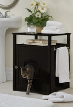 Load image into Gallery viewer, Espresso Dog or Cat Washroom Litter Box Cover / Night Stand Pet House, Cat - Yardify.com