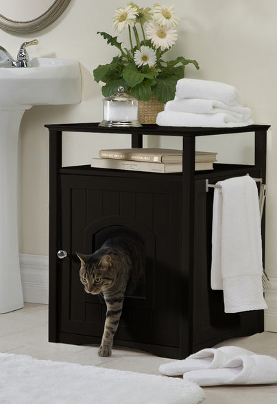 Espresso Dog or Cat Washroom Litter Box Cover / Night Stand Pet House, Cat - Yardify.com