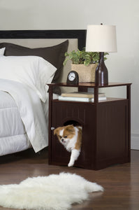 Walnut Dog or Cat Washroom Litter Box Cover / Night Stand Pet House, Cat - Yardify.com