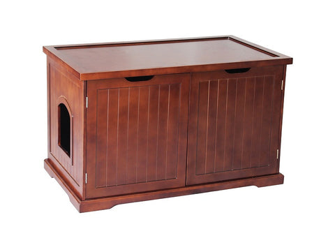 Extra-Large Automatic Walnut Dog or Cat Washroom Bench