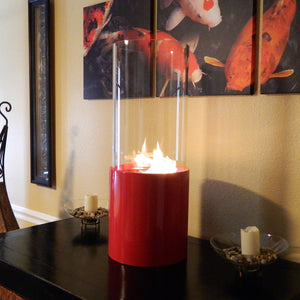 Nu-Flame Doppio Rouge Cylinder Tabletop Fireplace Red (NF-T2DOOR), Fireplace - Yardify.com