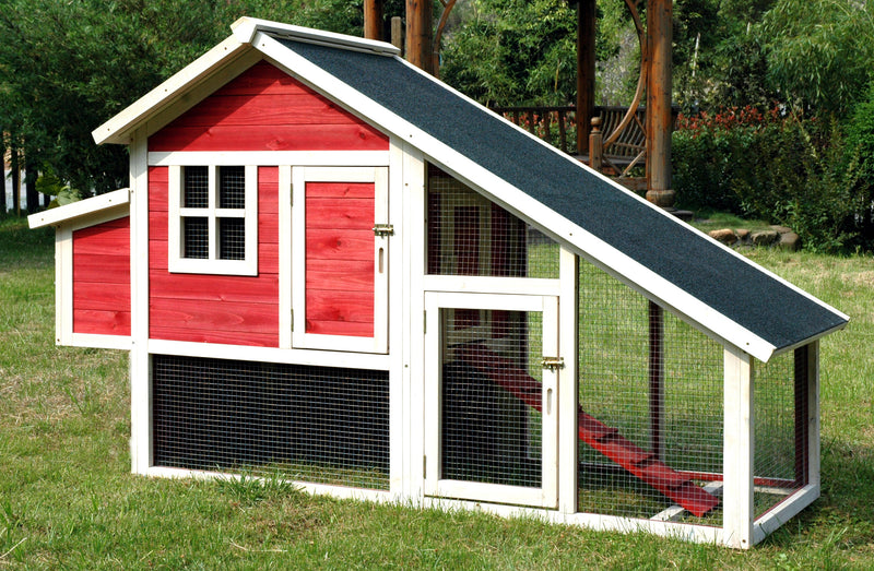 Red Habitat Tower Chicken Coop Barn House