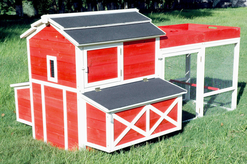Red Barn Chicken Coop with Roof Top Planter