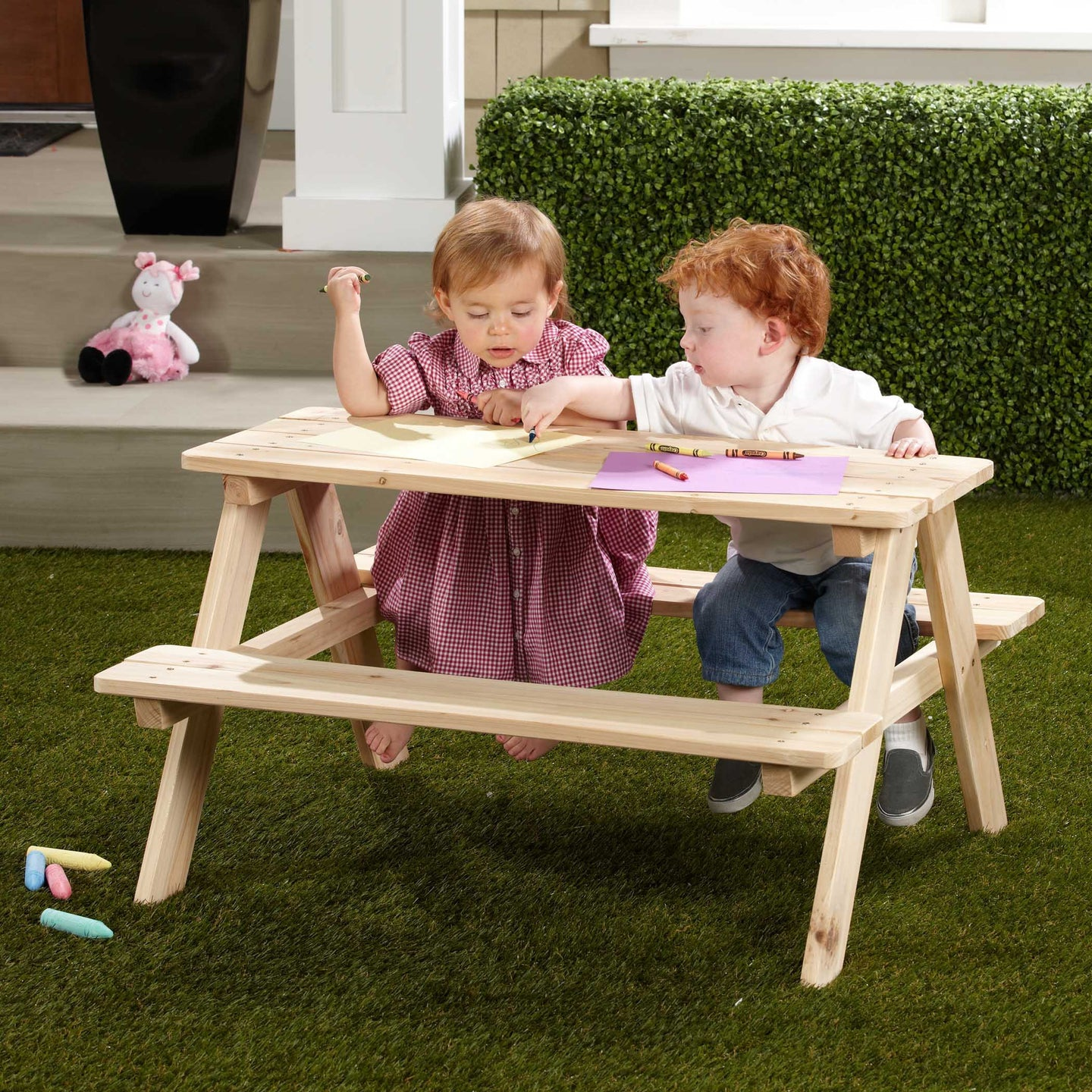 Wooden Cedar, Unfinished Outdoor and Indoor Kids Picnic Table, Table - Yardify.com