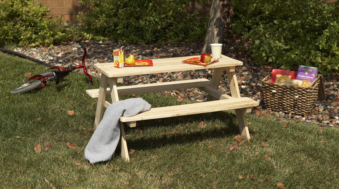 Wooden Cedar, Unfinished Outdoor And Indoor Kids Picnic Table