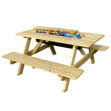Load image into Gallery viewer, Garden Wooden Picnic Table and Bench with Beverage Cooler, Table - Yardify.com