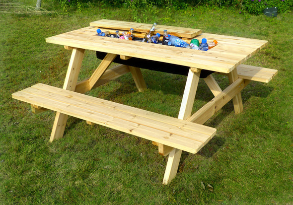 Garden Wooden Picnic Table and Bench with Beverage Cooler, Table - Yardify.com