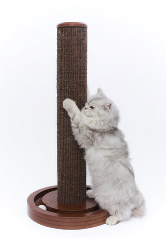 Solid Wood Cat Scratching Post with Round Ball Toy Base