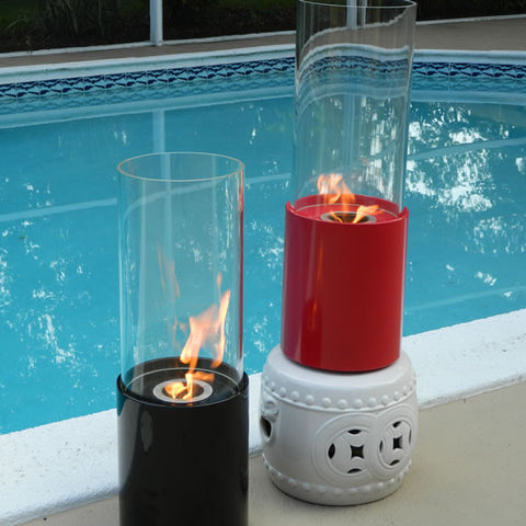 Doppio Rouge Cylinder Tabletop Fireplace Red - Yardify.com