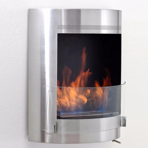 "Eco-Feu Malibu - 20"" UL Listed Wall Mounted Ethanol Fireplace -Stainless Steel (WU-00092-SS), Fireplace - Yardify.com"