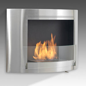 "Eco-Feu Olympia 33.5"" UL Listed Wall Mounted Ethanol Fireplace  (WS-00073-BS, WU-00124-SW, WU-00068-SS), Fireplace - Yardify.com"