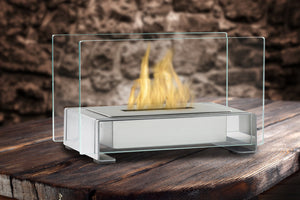 Eco-Feu Toulouse Tabletop Ethanol Fireplace - Stainless Steel (TT-00142-SS), Fireplace - Yardify.com