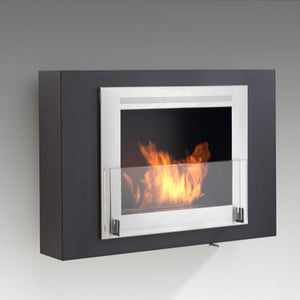 "Eco-Feu Wellington - 33.5"" UL Listed Wall Mounted / Built - In Ethanol Fireplace - Matte Black, White or Stainless Steel, Fireplace - Yardify.com"