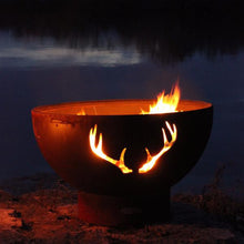 "Fire Pit Art Antlers - 36"" Unique Handcrafted Carbon Steel Fire Pit (Antlers), Fireplace - Yardify.com"