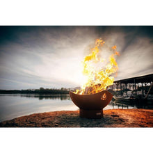 "Load image into Gallery viewer, FIRE PIT ART NAMASTE - 36"" HANDCRAFTED CARBON STEEL FIRE PIT"