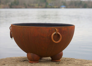 Fire Pit Art Nepal Handcrafted Carbon Steel Fire Pit (NP), Fireplace - Yardify.com