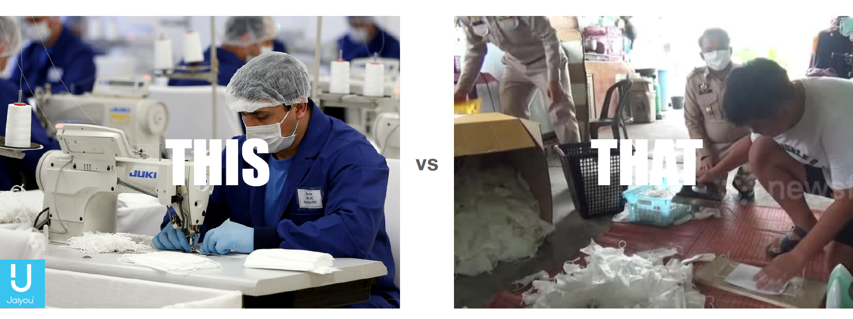 Two different scenarios of PPE production factories. On the left, a guy who uses the right is sewing the surgical masks in a clean workspace. On the right side, there are two guys, in a dirty space, making masks on the floor.