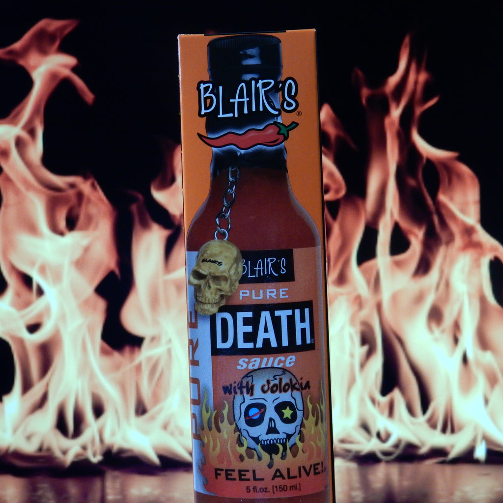 Blair's Pure Death Hot Sauce with Jolokia & Skull Key Chain