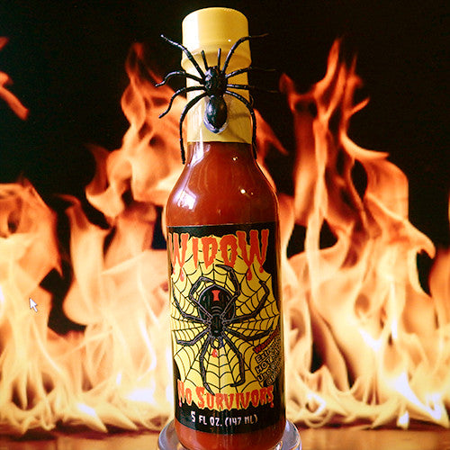 Widow No Survivors Hot Sauce with Spider on Neck of Bottle